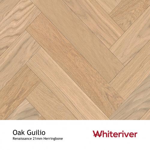 1m²: 21mm - Whiteriver - Renaissance Herringbone - Oak Guilio - Prime Grade European Oak - Engineered T&G Herringbone Block Flooring - Special Stain & White UV Oil/Wax - MicroBevel 4 Sides -