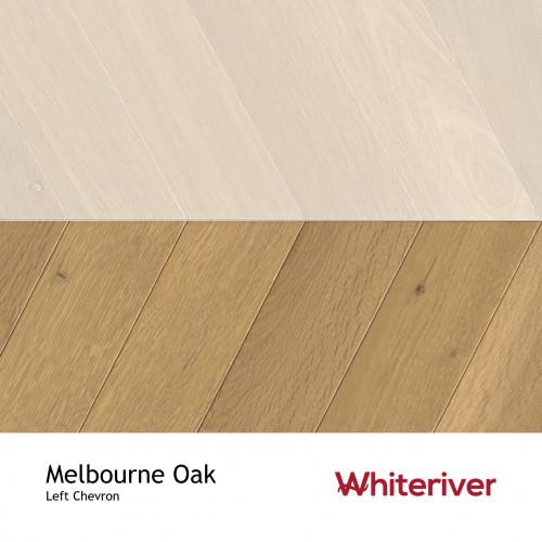 1m²: 18mm - Whiteriver - Chevron Panel - Melbourne Oak - Rustic A / Nature Grade - European Oak - Engineered - Drop Lock Chevron Panel Flooring - Smoked,White & UV Oil / Wax - Micro Bevel 4 S