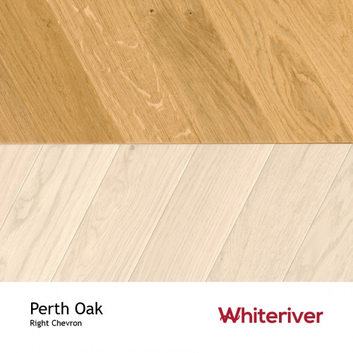 1m²: 18mm - Whiteriver - Chevron Panel - Perth Oak - Rustic A / Nature Grade - European Oak - Engineered - Drop Lock Chevron Panel Flooring - Brushed & Matt Lacquered - Micro Bevel 4 Sides -