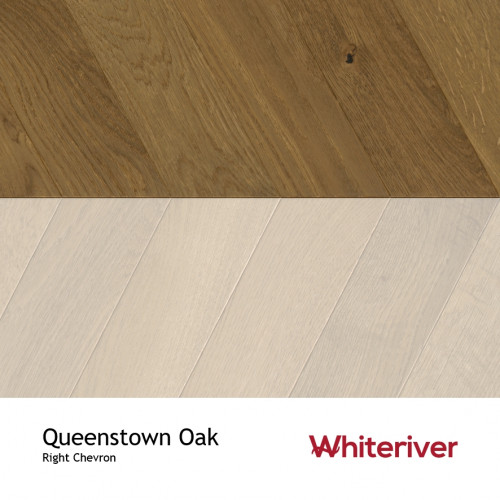 1m²: 18mm - Whiteriver - Chevron Panel - Queenstown Oak - Rustic A / Nature Grade - European Oak - Engineered - Drop Lock Chevron Panel Flooring - Smoked, Brushed & Matt Lacquered - Micro Bev