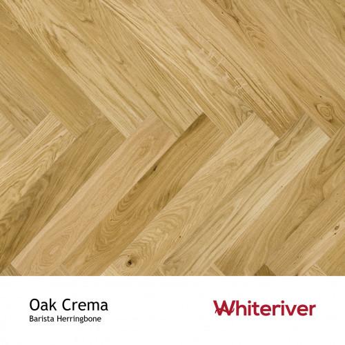 1m²: 14mm - Whiteriver - Barista Herringbone - Oak Crema - Nature Grade European Oak - Engineered Drop Lock Herringbone Flooring - Brushed & Matt Lacquered - V4 MicroBevel 4 Sides - 14/2.5x13