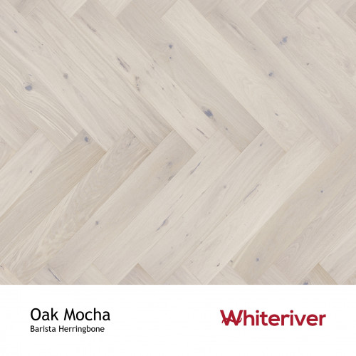 1m²: 14mm - Whiteriver - Barista Herringbone - Oak Mocha - Rustic Character Grade European Oak - Engineered Droplock Herringbone Flooring - Cream Double Stained, Brushed & Matt Lacquered - V4
