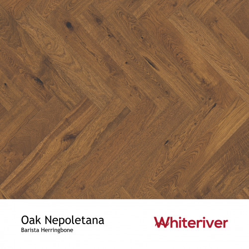 1m²: 14mm - Whiteriver - Barista Herringbone - Oak Napoletana - Rustic Character Grade European Oak - Engineered Droplock Herringbone Flooring - Brown Stained, Brushed & Matt Lacquered - V4 M