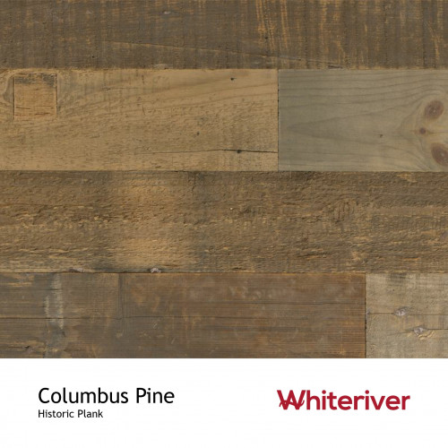 1m²: 15mm - Whiteriver - Historic Plank - Columbus Pine - Reclaimed - Engineered - T&G Plank Flooring - Unfinished - FSC Certified Plywood Base - 15/4x70-230x400-2200mm
