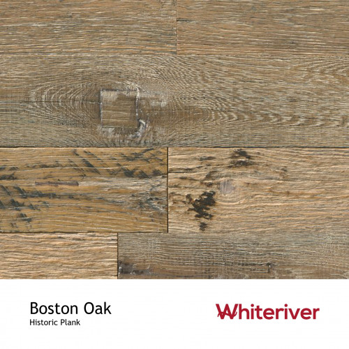 1m²: 15mm - Whiteriver - Historic Plank - Boston Oak- Reclaimed - Engineered - T&G Plank Flooring with FSC Certified Plywood Base - Oiled - 15/4 x 95-135 x 400-2200mm