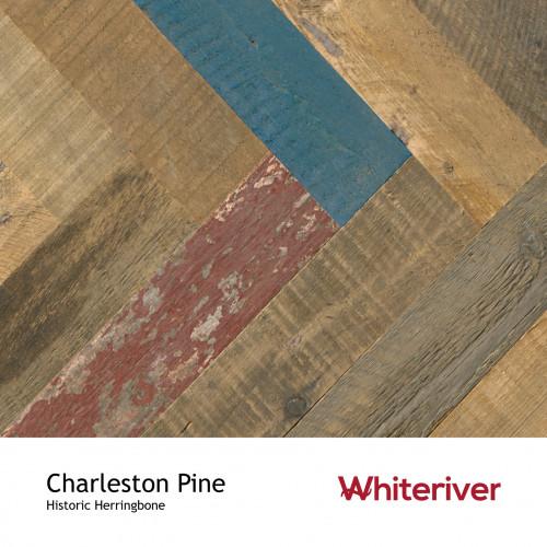 1m²: 15mm - Whiteriver - Historic Herringbone - Charleston Pine - Reclaimed Pine - Engineered T&G Herringbone Flooring - Blue, Brown, Grey, Red & Unfinished - Square Edge - 15/4x90x600mm