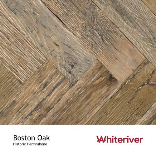 1m²: 15mm - Whiteriver - Historic Herringbone - Boston Oak - Reclaimed Oak - Engineered T&G Herringbone Flooring - Brown, Oiled - Square Edge - 15/4x115x575mm