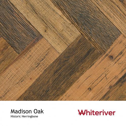 1m²: 15mm - Whiteriver - Historic Herringbone - Madison Oak - Reclaimed Oak - Engineered T&G Herringbone Flooring - Brown, Oiled - Square Edge - 15/4x115x575mm