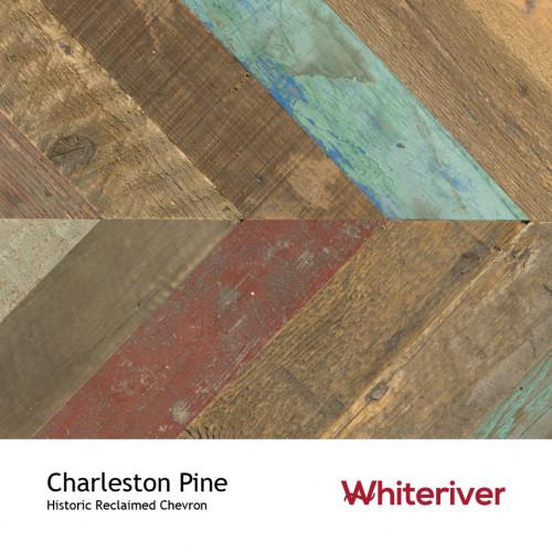 1m²: 15mm - Whiteriver - Historic Chevron - Charleston Pine - Reclaimed Pine - Engineered - T&G Chevron Flooring - Blue, Brown, Red & Unfinished - 15/4x90x600mm - (2.59m²/pk)