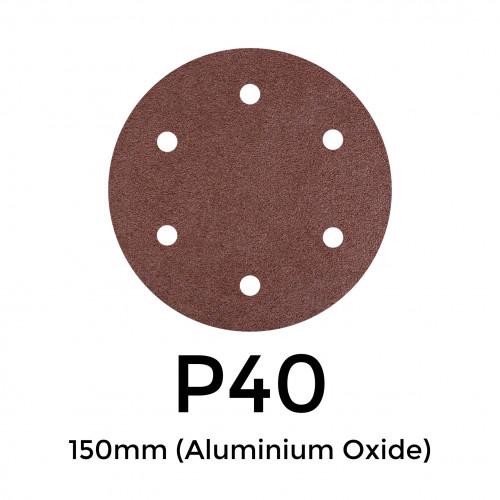 """1 Box: P40 - Starcke - Aluminium Oxide - Hook & Loop Sanding Discs - 6 Hole - 150mm - 6"""" - (50/Box)"""