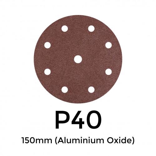 """1 Box: P40 - Starcke - Aluminium Oxide - Hook & Loop Sanding Discs - 8 Hole - 150mm - 6"""" - (50/Box)"""