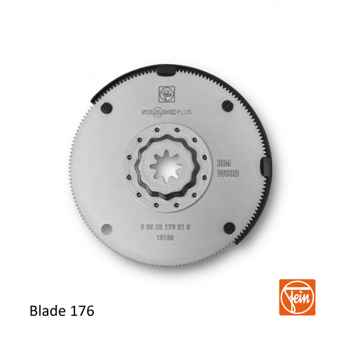 Fein - Starlock Plus - Round 176 form 100mm HSS Saw Blade - Bi-metal for Wood - Single Pack - (replaces blade 154)
