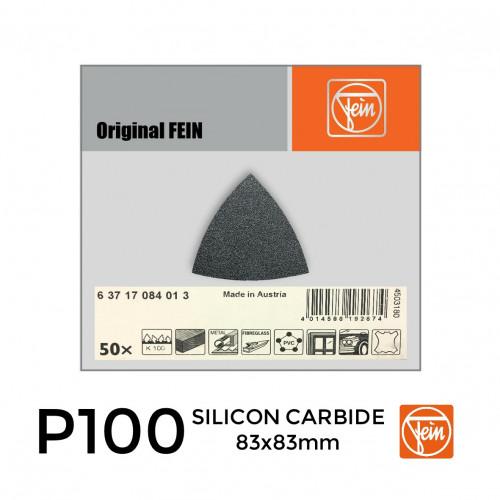 1 Box: P100 - Fein - Silicon Carbide - Triangular Delta Hook & Loop Sanding Sheets - 83mm - (50/Box)