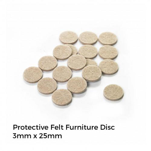 Protective Felt Furniture Disc - 3mm x 25mm