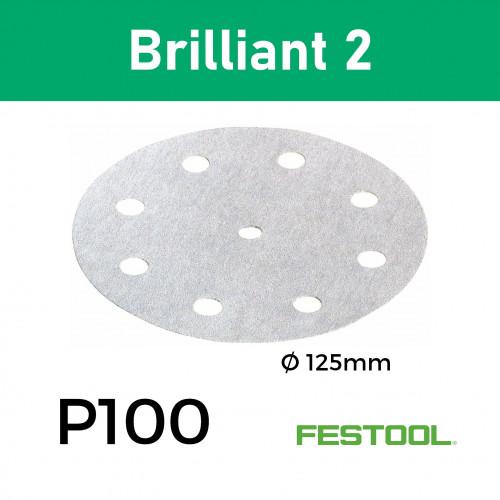 "1 Box: (492946) P100 - Festool - Brilliant2 - StickFix - Hook & Loop Sanding Discs - 9 Hole - 125mm - 5"" - (100/Box)"