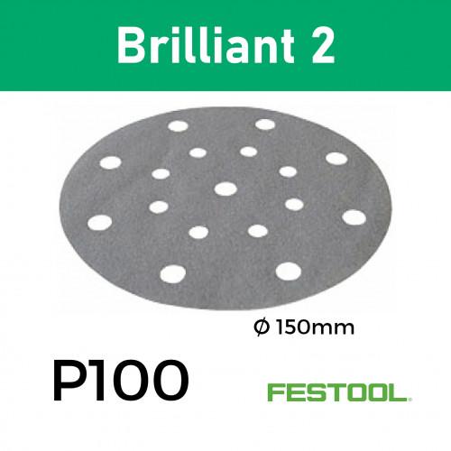 "1 Box: (496588)  P100 - Festool - Brilliant2 - Multi Jetstream StickFix - Hook & Loop Sanding Discs - 17 Hole - 150mm - 6"" - (100/Box)"