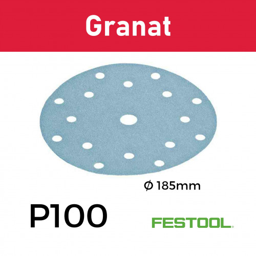 1 Box: (499629) P100 - Festool - Granat - StickFix - Hook & Loop Sanding Discs - 185mm - (100/Box)
