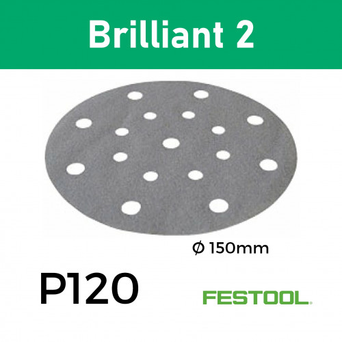 "1 Box: (575147) P120 - Festool - Brilliant2 - Multi Jetstream2 StickFix - Hook & Loop Sanding Discs - 150mm - 6"" - (100/Box)"