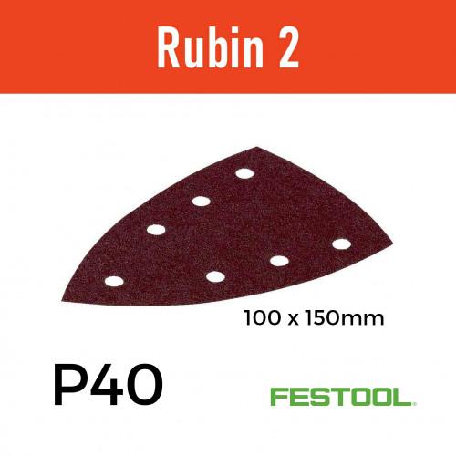 1 Box: (499133) P40 - Festool - Rubin2 - StickFix - Triangular Delta Hook & Loop Sanding Sheets - 100/150mm - (50/Box)