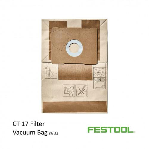 Festool -  Filter Bags For CT17 - 17ltr Vacuumf (5/pk) (769136)