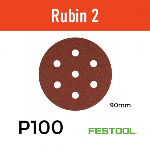"1 Box: (499080)  P100 - Festool - Rubin2 - StickFix - Hook & Loop Sanding Discs - 90mm - 3.5"" - (50/Box)"