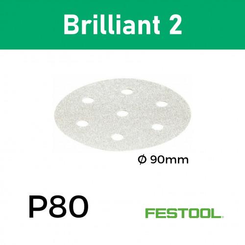 "1 Box:(497381) P80 - Festool - Brilliant2 - StickFix - Hook & Loop Sanding Discs - 90mm - 3.5"" - (50/Box)"