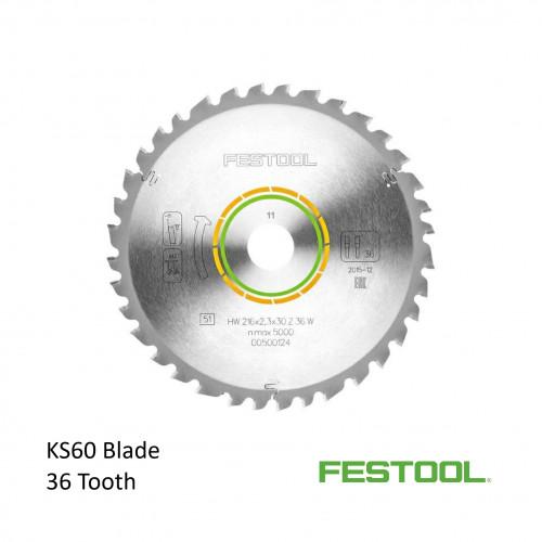 Festool - Saw Blade - 36 Tooth - For KS60 Kapex Saw - 216mm diameter (500124)