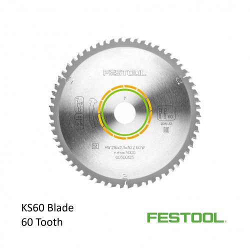 Festool - Saw Blade - 60 Tooth - For KS60 Kapex Saw - 216mm diameter (500125)