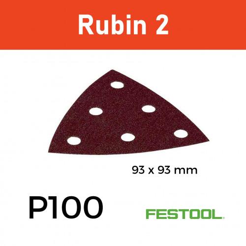 1 Box: (499164) P100 - Festool - Rubin2 - StickFix - Triangular Delta Hook & Loop Sanding Sheets - 93mm - (50/Box)