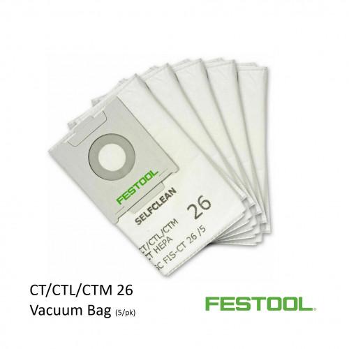 1pk: Festool - Selfclean Filter bags - for CTL 26 Vacuum - (5/pk) (496187)