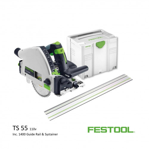 Festool - TS 55 REBQ+ FS - Circular Plunge Saw - 110v (inc 1400 guide and systainer)