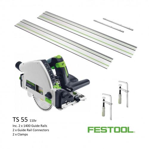 Festool - TS 55 REBQ+ FS - Circular Plunge Saw - 110v (inc 2 x 1400 + Connectors + Clamps)