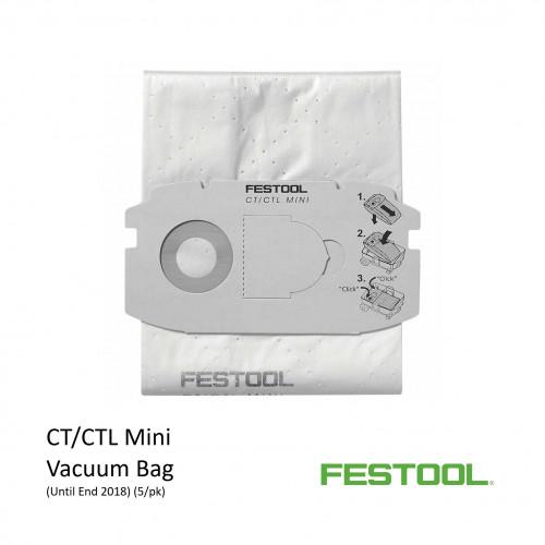 1pk: Festool - Vac Bags - For CTL MINI Vacuum - (5/pk) Until 2018