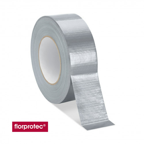 1 Roll: Florprotec - Cloth Tape for joining floor protection to floor protection - Silver - 50mm x 50m