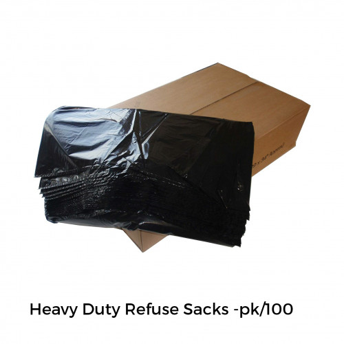 "1 Box: FS - Compactor Refuse Sacks - Heavy Duty - Black - 20x34x47"" - (100/pk)"