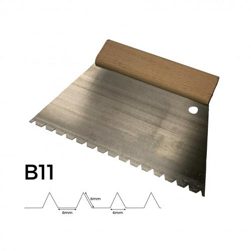 FS - Adhesive Trowel - Wooden Handle - 220mm - B11 - 5mm Notch Depth & 6mm Notch Width