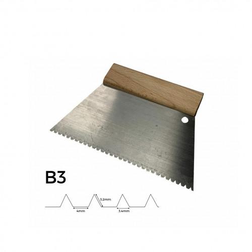 FS - Adhesive Trowel - Wooden Handle - 220mm - B3 - 3.2mm Notch Depth & 3.4mm Notch Width