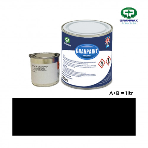 1ltr: Granwax - Granpaint - Black - 2K Polyurethane - Indoor Court Line Marking Paint - 1ltr including hardener
