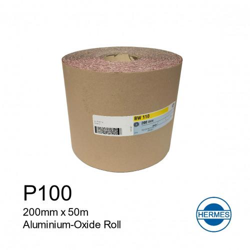 """50m Roll: P100 - Hermes - Aluminium Oxide - Sandpaper - 200mm - 8"""""""