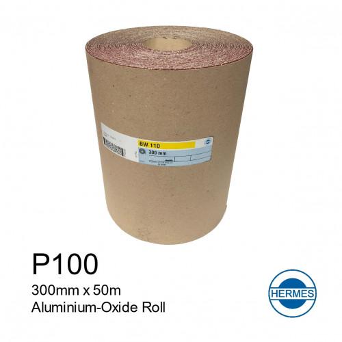 """50m Roll: P100 - Hermes - Aluminium Oxide - Sandpaper - 300mm - 12"""""""