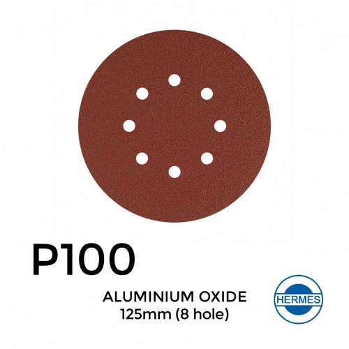 "1 Box: P100 - Hermes - Aluminium Oxide - Hook & Loop Sanding Discs - 8 Hole - 125mm - 5"" - (50/Box)"