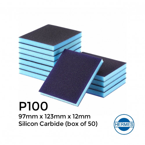 1 Box: P100 - Hermes - Silicon Carbide - Double Sided Sanding Sponge - 97x123x12mm (250/box)