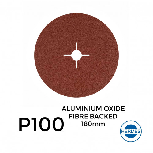 "1 Box: P100 - Hermes - Aluminium Oxide - Fibre Backed - Sanding Discs - 180mm - 7"" - With 22cm Centre Hole - (25/Box)"