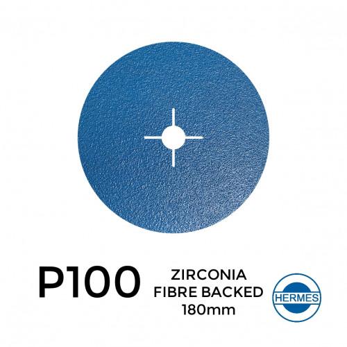 "1 Box: P100 - Hermes - Zirconia - Fibre Backed - Sanding Discs - 180mm - 7"" - With 22cm Centre Hole - (25/Box)"