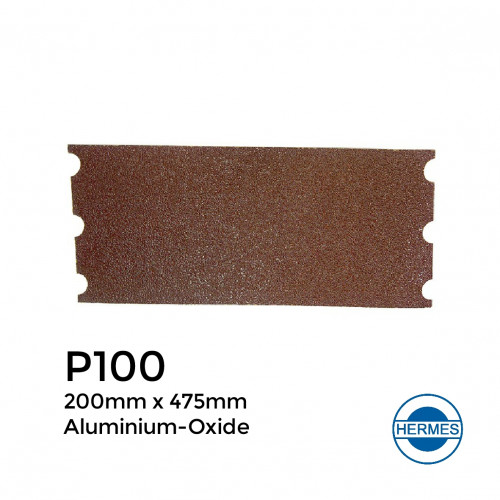 """P100 - Hermes - Aluminium Oxide - Paper Floor Sander Loading - With Notched End - 200x475mm - 8"""""""
