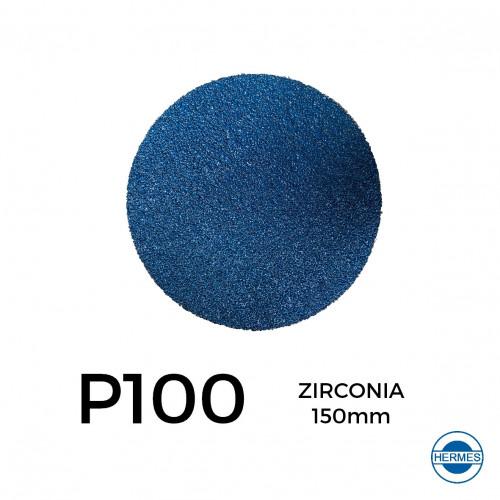 """1 Box: P100 - Hermes - Zirconia - Hook & Loop Sanding Discs - 150mm - 6"""" - (50/Box)"""