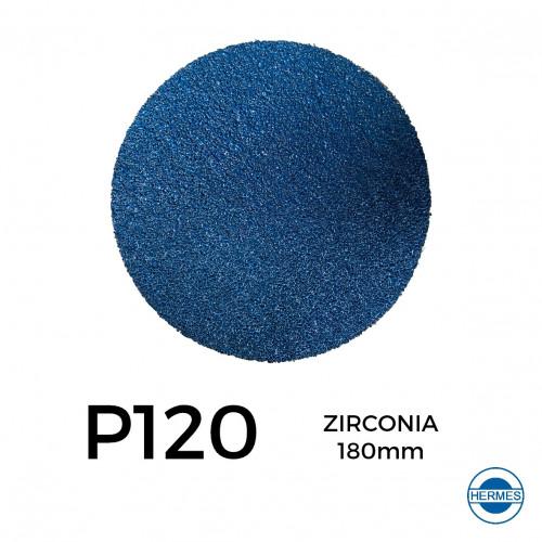 """1 Box: P120 - Hermes - Zirconia - Hook & Loop Sanding Discs - 180mm - 7"""" - (50/Box)"""