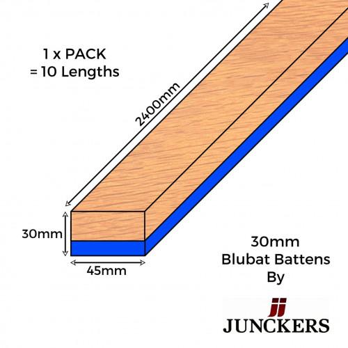 1pk: Junckers - 30mm Blubat Battens - 30x45x2400mm - (10/pk)