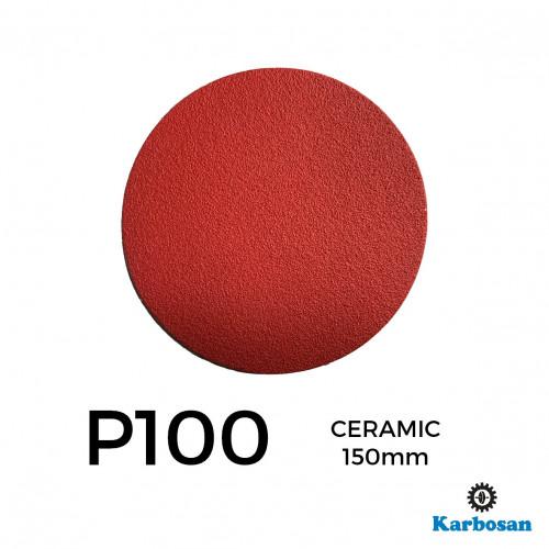 "1 Box: P100 - Karbosan - Ceramic - Hook & Loop Sanding Discs - 150mm - 6"" - (50/Box)"