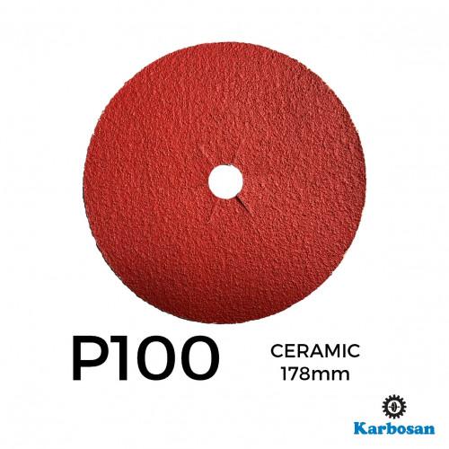 "1 Box: P100 - Karbosan - Ceramic - Hook & Loop Sanding Discs - 178mm - 7"" - (50/Box)"